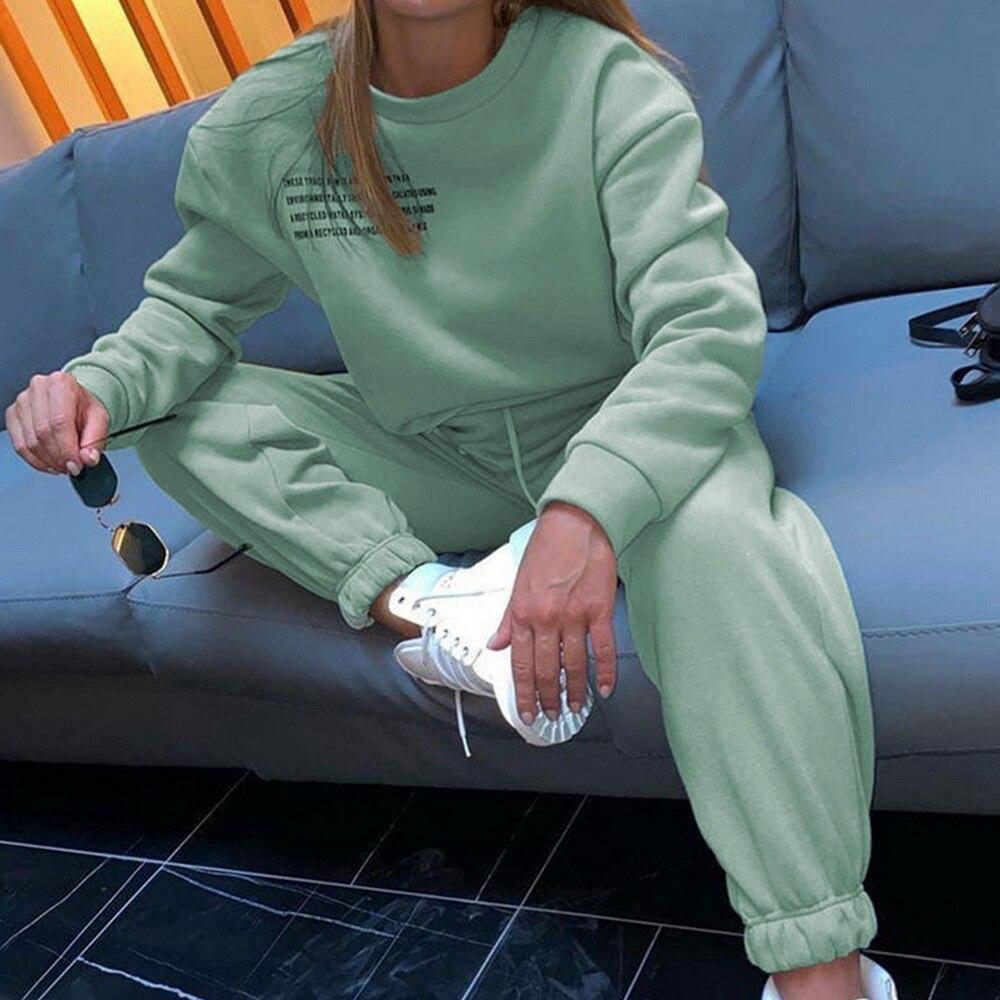 Letter Print Sports Suits Female Fitness Sportswear Suit Women's Tracksuit 2021 Oversize Hoodie Long Sleeve+Jogging Pants Suit 2