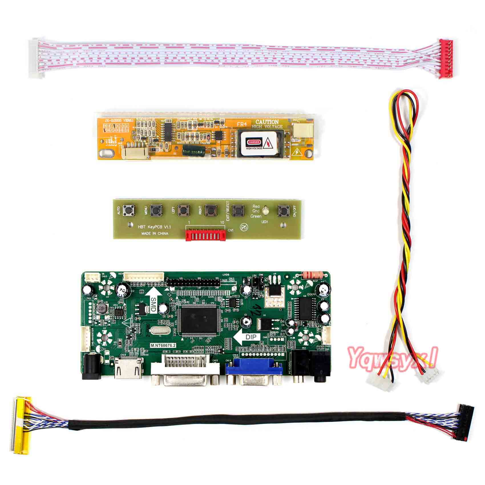 Yqwsyxl Control Board Monitor Kit For B154EW08 LTN154AT01 LTN154AT07  HDMI+DVI+VGA LCD LED Screen Controller Board Driver