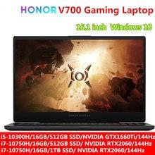 HONOR HUNTER V700 ordinateur portable de jeu 16.1 pouces 144Hz i5-10300H/i7-10750H NVIDIA GTX1660Ti/RTX2060 Windows 10 ordinateur portable noir