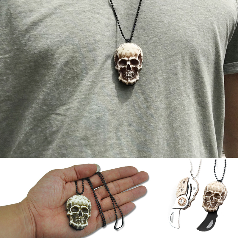 1pcs EDC Vintage Skull Necklace Self Defense Outdoor Pocket Mini Cutting Knife Camp Survival Tactical Knife Keychain Protection