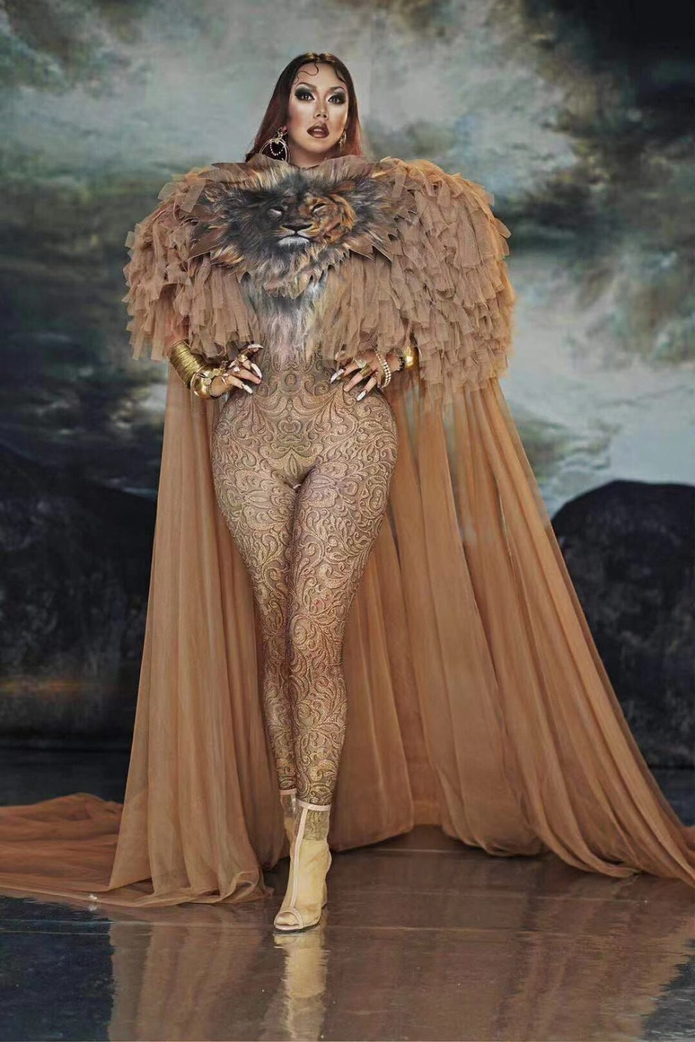 NEW Sexy Queen Lion King Costume Women Female Stage Dance Wear Long Tail DJ Nightclub Evening Outfit Birthday Celebrate Dresses