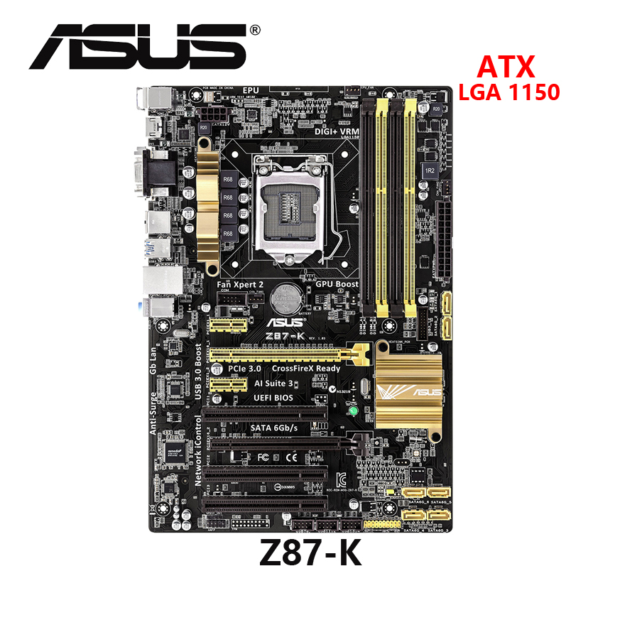 Used ASUS Z87-K Motherboard 1150 Z87 DDR3 USB3.0 32GB SATA III Z87 Desktop Mainboard Good Condition Fully-tested
