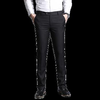 Nowe ubranie spodnie męskie spodnie biznesowe klasyczne spodnie męskie spodnie pełnej długości modne spodnie szare czarne spodnie męskie na co dzień strój tanie i dobre opinie FAVOCENT Plisowana 20200109SF Smart Casual Poliester Zipper fly Garnitur spodnie fashion Straight pants