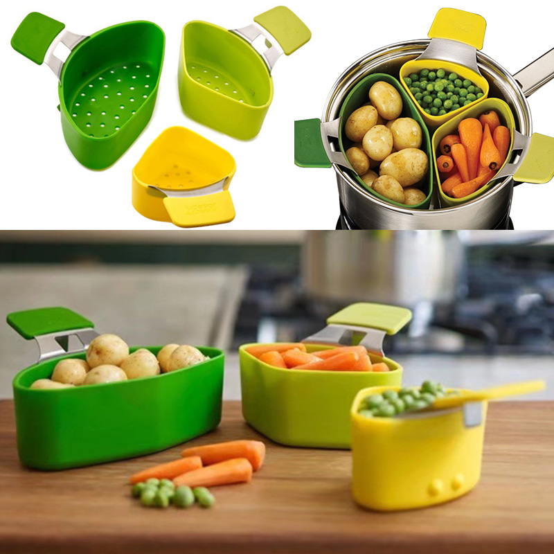 3 Pcs/Set Steamer Basket Silicone Steam Cooker For Cooking Vegetable Multifunction Kitchen Accessories Cookware