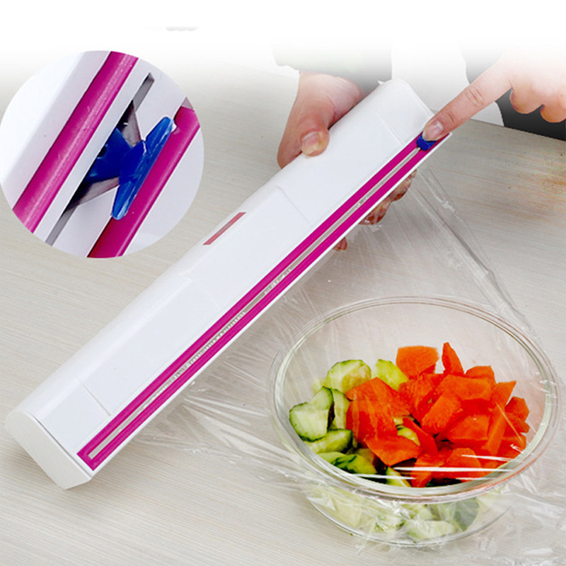 Food Plastic Cling Wrap Dispenser Preservative Film Cutter Kitchen Tool Accessories Cooking Tools C1210 J