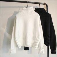 Женский свитер с высоким воротом, вязаный пуловер в рубчик, черный, белый, зимний, высокая эластичность, тонкий джемпер, 2019, осенние свитера д...
