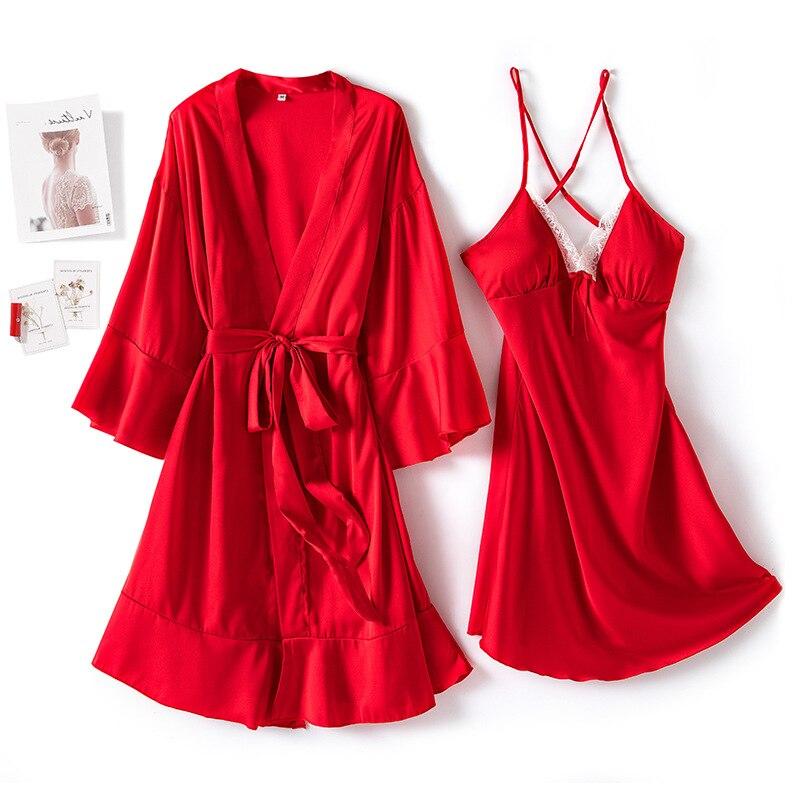 Image 3 - MECHCITIZ Sexy Womens Robe & Gown Sets Lace Bathrobe Night Dress 2 Pieces Sleepwear Womens Sleep Set Silk Robe Femme LingerieRobe & Gown Sets   -