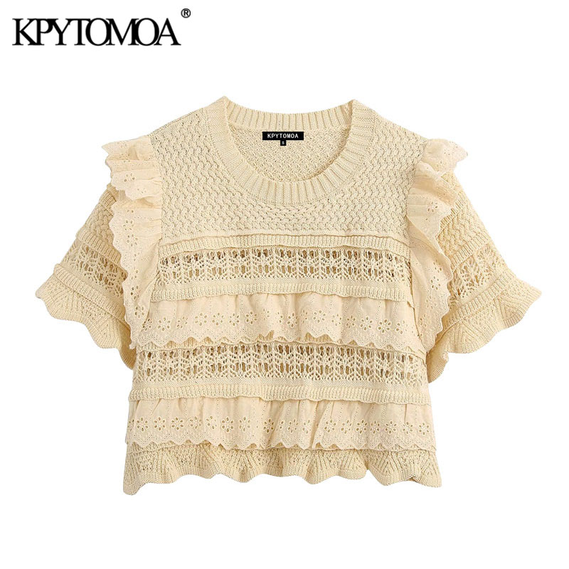 KPYTOMOA Women 2020 Fashion Embroidery Hollow Out Ruffled Cropped Knitted Sweater Vintage Short Sleeve Female Pullovers Chic Top
