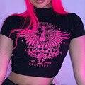Sommer Grafische Rollkragenpullover Crop Top Frauen Harajuku Sexy Ästhetischen Gothic Tees Hemd Damen Streetwear Schwarz Kleidung Egirl T-shirt
