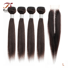 Short Closure Bobbi-Collection Human-Hair Long Indian Straight 4/6-Bundles with 50g/pc