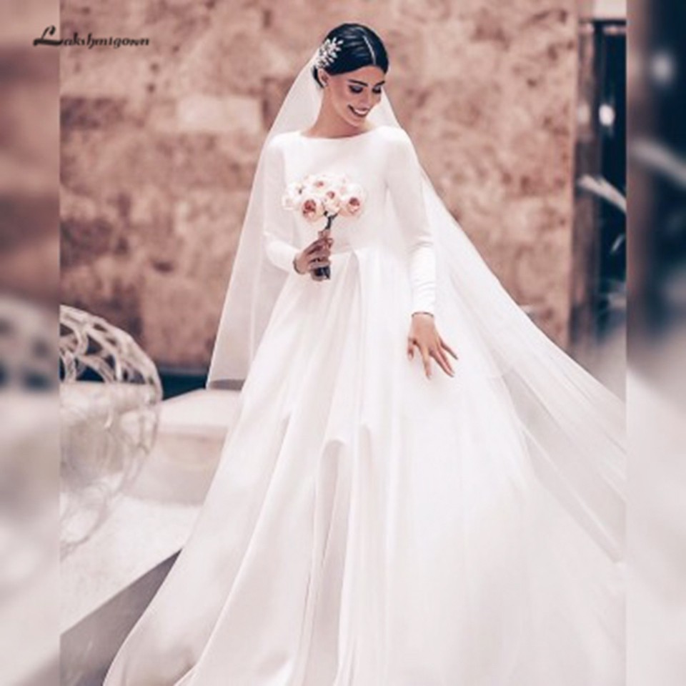 Elegant A-Line Bateau Long Sleeves Satin Wedding Dress Backless Court Train Vestidos Novia Vintage Bridal Wedding Gowns 2020