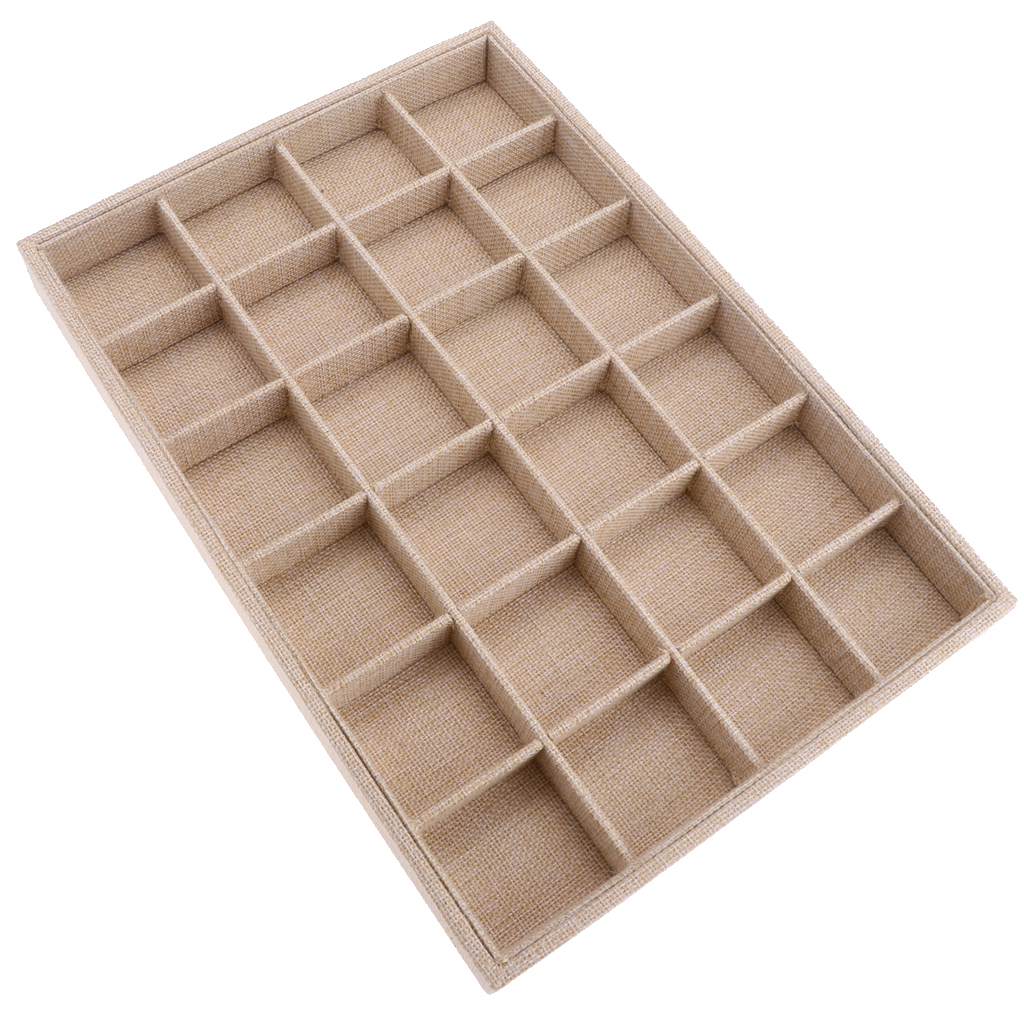 Velvet Stackable 24 Grid Jewelry Tray Showcase Display Organizer Ring Holder