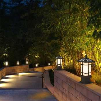 OUFULA Patio LED pillar lighting Solar Waterproof Modern Outdoor Post Light Fixture For Porch Balcony Courtyard Villa