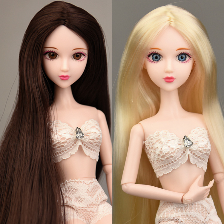 2019 New 3D Real Eyes Nude Naked Original XINYI Doll / Gold & Brown Long Hair 14 Joint Movable /For DIY 1/6 BJD Doll Girls Toys