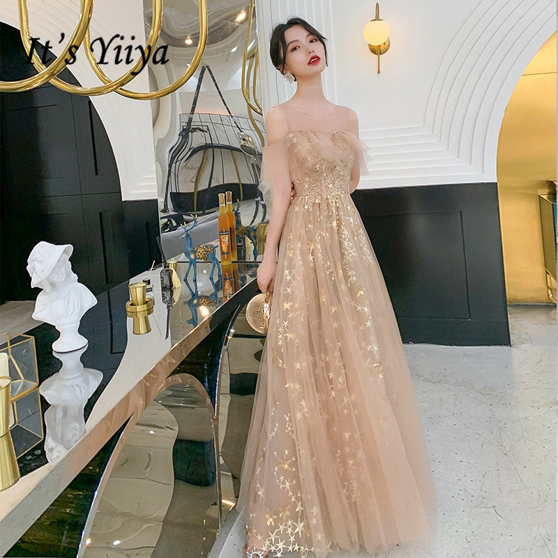 It's Yiiya Evening Dress Champagne Shiny Formal Dresses Long O-neckParty Gowns Crepe Crysta Vestidos Robe De Soiree K274