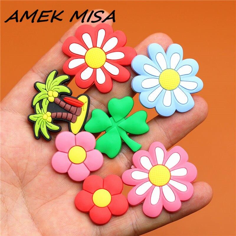Novel Single Sale Clover Shoe Charms Shoe Flowers Accessories Cute Coconut Tree Garden Shoe Decoration For Croc Jibz Kid's X-mas