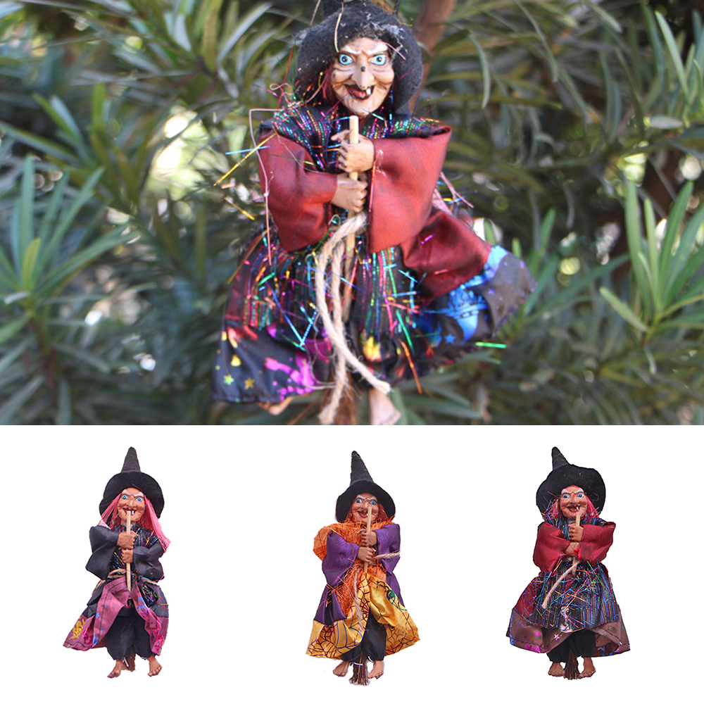 Halloween Witch Decoration Scene Arrangement Hanging Haunted House Terror Scary Witch Tricky Props Party Ornament Accessories