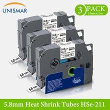 Unismar for HSe-211 Hse-231 Heat Shrink Tube Label Tape Label Maker Compatible Brother HS221 HSe211 HSe Heat Shrink Tube Cabel