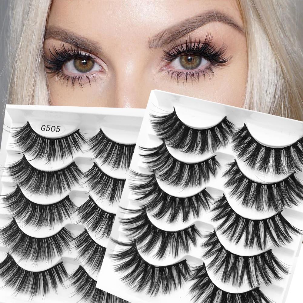 Hot 5 Pairs 3D False Eyelashes Wispy Full Volume Handmade Natural Lashes Feathery Flared Variety Pack Lashes