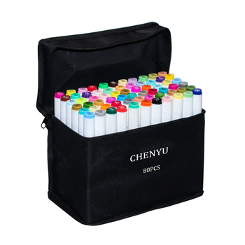 CHENYU 30/40/60/80Pcs Color Markers Manga Drawing Markers Pen Alcohol Based Non Toxic Sketch Oily Twin Brush Pen Art Supplies