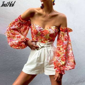 Sexy Off Shoulder Ruffles Summer Crop Top Fashion Women Holiday Beach Shirt Vintage Leaf Printed Elegant 2021 Female Blouse