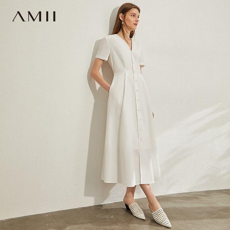 AMII Minimalismo Abiti Con Scollo A V Donne Eleganti Solido Single-petto Manica Corta Donna Vestito Lungo 12040129