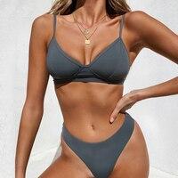 Sexy Solid Thong Brazilian Push Up Bikini Set