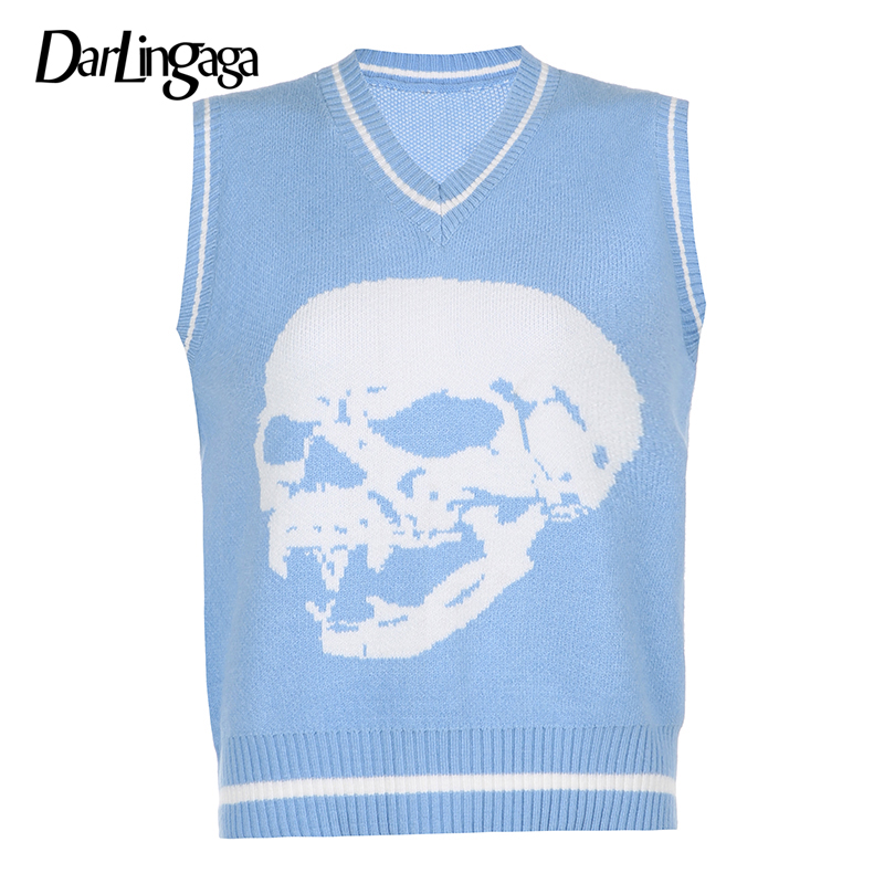 Darlingaga Gothic Skull Print Autumn Winter Woman Sweaters Fashion Loose Y2K Pullover Harajuku Knitted Sweater Ladies Pull Femme 10