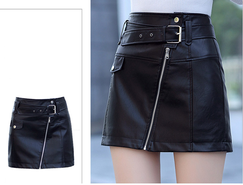 Leather High Waist Vintage A-Line Office Solid Mini Skirt 6
