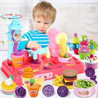 3 in 1 Multi function Color Clay Ice Cream Burger Noodle Machine Puzzle Plasticine Mold Set Play House DIY Handmade Toy for Kids