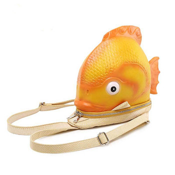 Women's Backpack Pu Gold Small Fish Bag Creative Animal Backpack