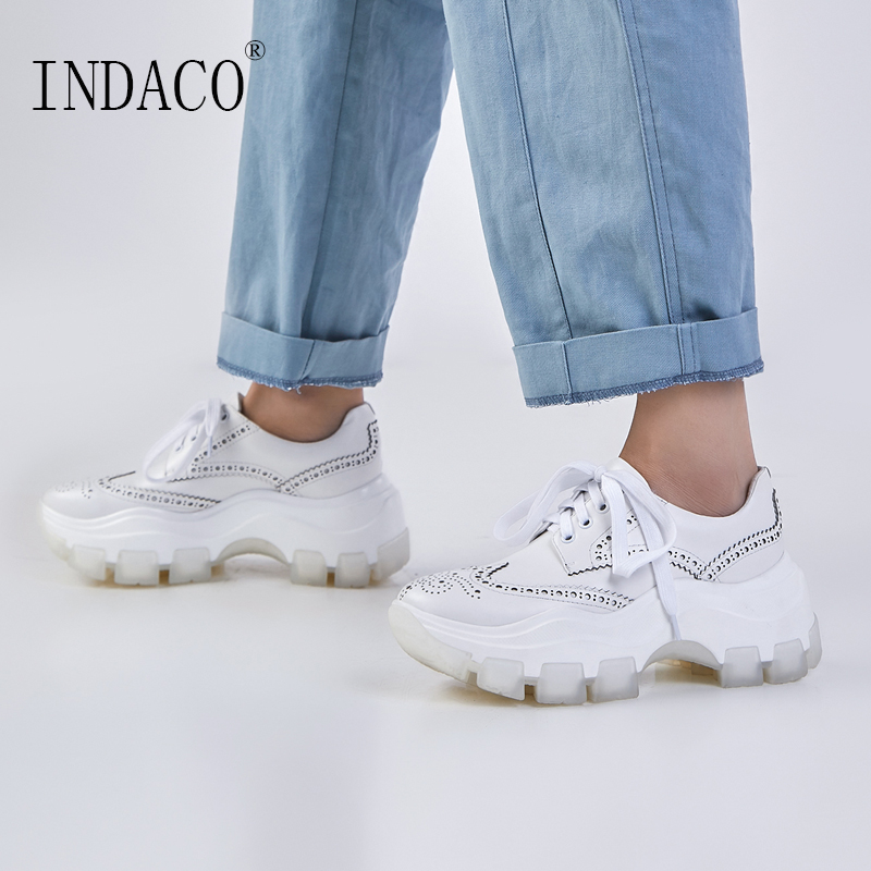 2020 Sneakers Women White Leather Women Sneakers Platform Fashion Spring 7.5cm