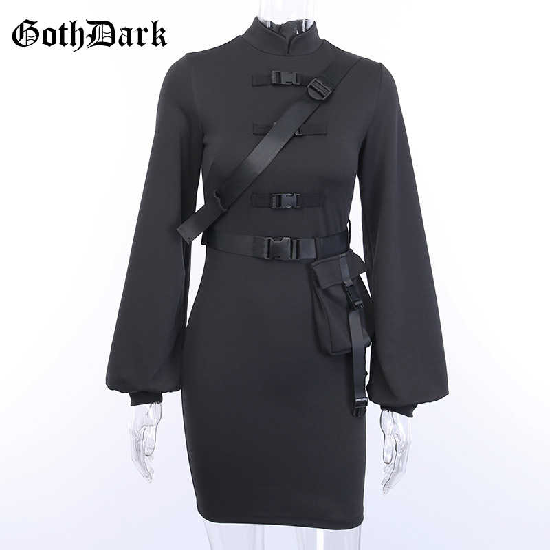 Goth Dark Vintage Emo Gothic Vrouwen Jurk Harajuku 2020 Flare Mouw Punk Y2K Esthetische Vrouwelijke Jurken Gesp Knop Chic Egirl
