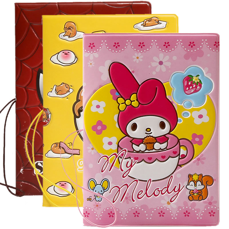 Cartoon My Melody Passport Cover Travel Accessories Women Wallets Bag PU Leather ID Address Holder Portable Boarding Card Case
