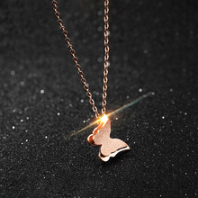 Ladies Scrub Double Butterfly Necklace Women Rose Gold Short Clavicle Chain Female Pendant
