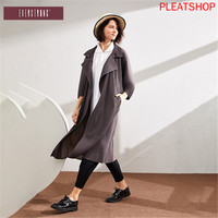 Women 's Mid length Loose Fit Coat New Style Spring And Autumn Profile Pleated Elegant Casual Solid Color Slimming Trench Coat
