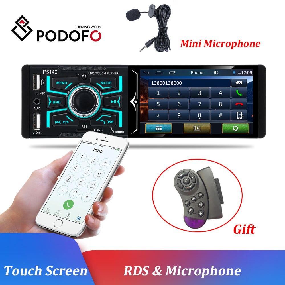 Podofo 4.1 pouces Radio voiture écran tactile 1 DIN Auto Audio stéréo Bluetooth Autoradio FM USB SD Microphone universel voiture stéréo