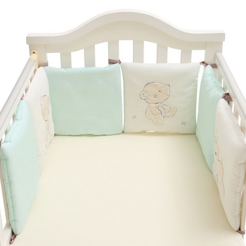 Children Infant Crib Bumper Bed Protector Baby Kids Cotton Cot Nursery For Bear Bumper Boy And Girl Bedding