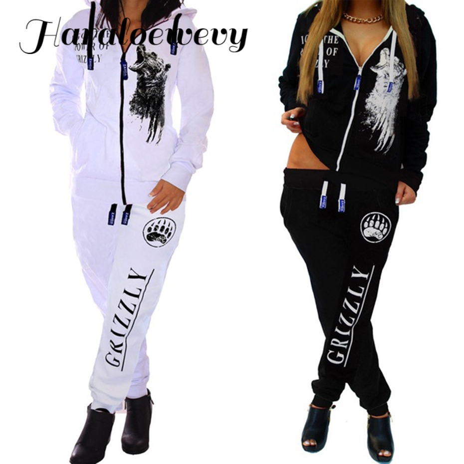 Printed Hooded Women Autumn Set Zipper Tracksuit Black White Sweatshirt  Long Sleeve Sportswear Casual Women Printed Hooded