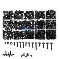 AXK Black 500Pcs M3 M4 M5 Carbon Steel Screw Hex Socket Cap Head 8 20cm Bolt Nut Furniture Fastener Assortment Kit