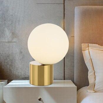 Нордическая настольная лампа креативная металлическая основа стеклянная круглая лампочка дизайнерская прикроватная лампа для спальни