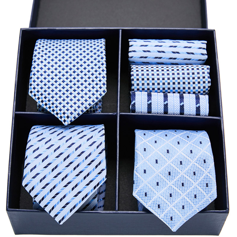 Gift box  Men`s Tie  Silk Jacquard Woven Necktie Hanky Sets For Formal Wedding Business Party