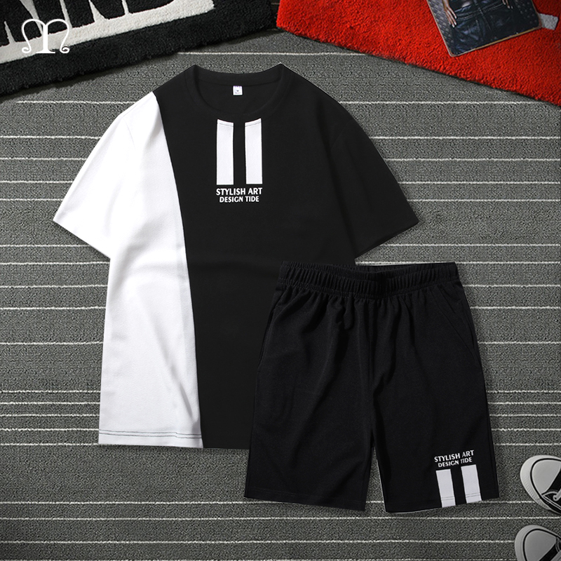 Patchwork Men Tracksuit Set T Shirt Summer Two Pieces Sporting Track Suit Male Sets Printed Tee Tops Shorts Set Mens Track Suit