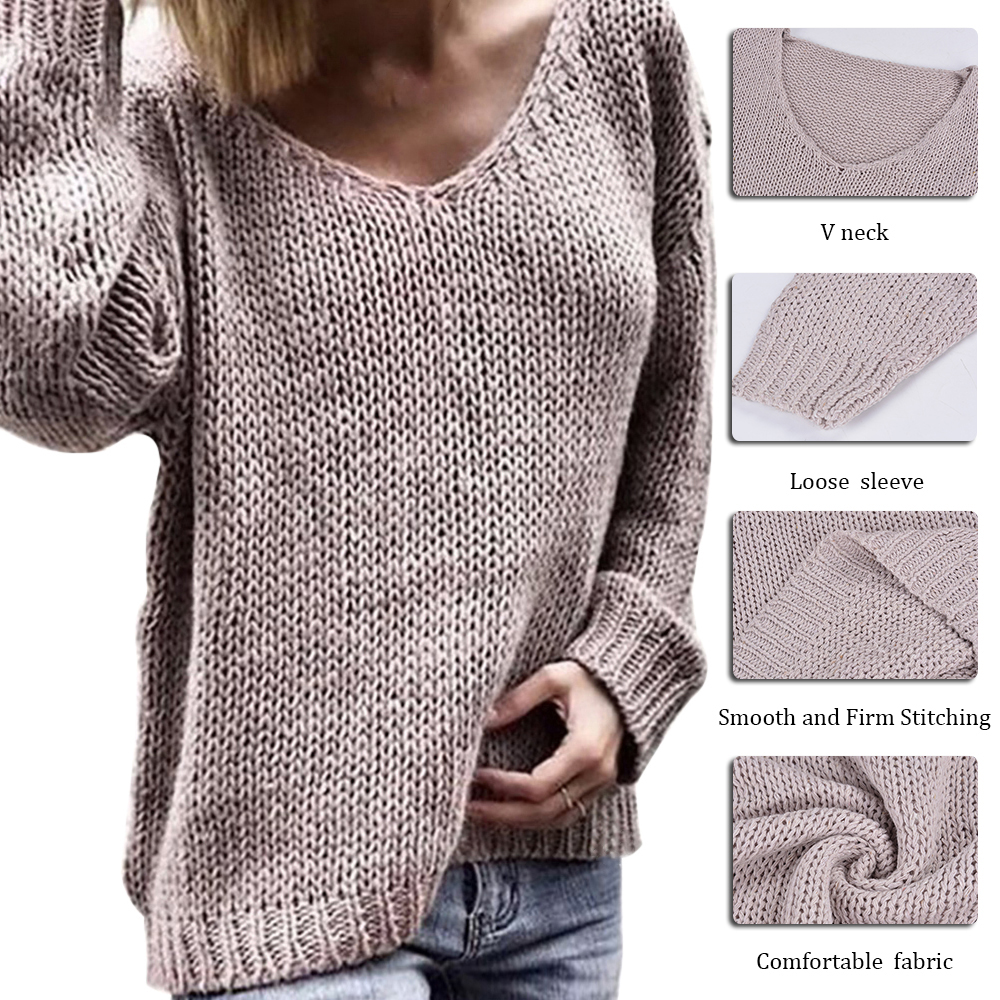 JODIMITTY   2019  Women's Autumn And Winter Sweaters Solid Color V-neck Sweater women's Sweater Pullover Sweater Knit  Pullover
