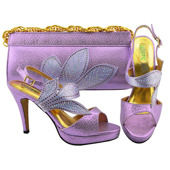 capputine new arrival italian style woman shoes and bags set 2018 shoes with matching bag set lady dress party shoes bl0021 Fashion Lilac Color Italian Shoes and Bag Set Decorated with Rhinestone African Ladies Shoe and Bag To Matching