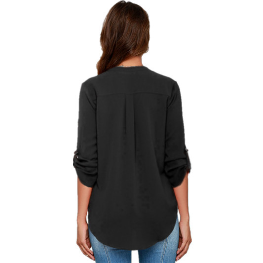 Plus Size S 5XL 6 Color V Neck Roll Up Sleeve Top Asymmetrical Long Chiffon Blouse Women Shirts 2019 Woman Tops And Blouses in Blouses amp Shirts from Women 39 s Clothing