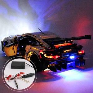 Image 1 - DIY Langlebige LED Licht Beleuchtung Kit RSR Ziegel Spielzeug Glowing Baustein Lichter Für Lego 42096 Technik Porsche 911 RSR ziegel