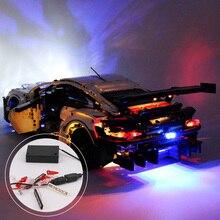 DIY بها بنفسك دائم مصباح ليد طقم الإضاءة سر الطوب اللعب متوهجة بنة أضواء ل ليغو 42096 تكنيك بورش 911 RSR الطوب