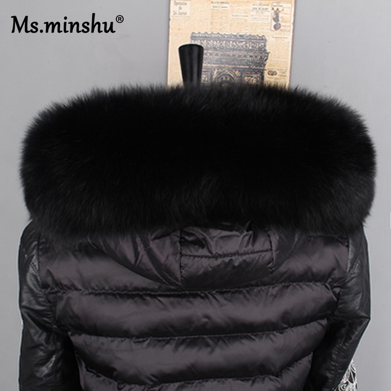 Image 4 - Ms.MinShu Fox Fur Collar For Hood Natural Fox Fur Hood Trim Scarf Big Fur Collar 100% Real Fox Fur Collar Trim Custom Made-in Women's Scarves from Apparel Accessories on AliExpress