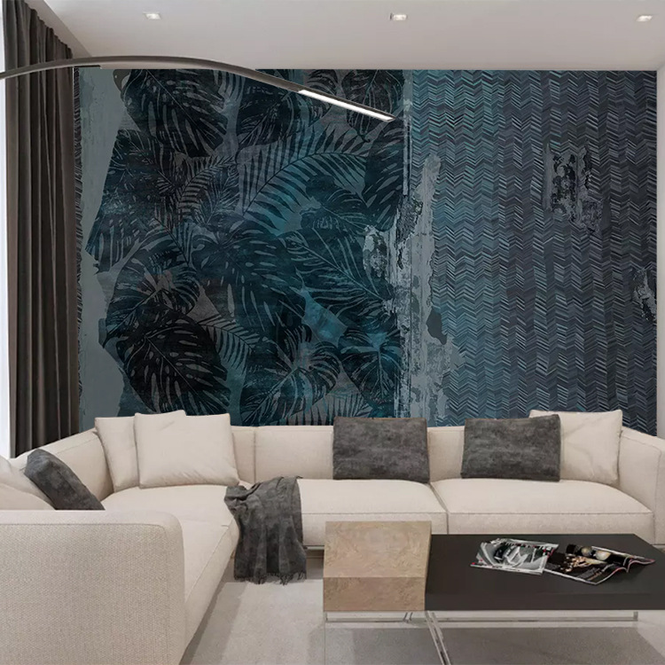 Northern European-Style Hand-Painted Abstract Torrid Zone Plant Cool Graffiti Wallpaper Background Of Television In The Drawing